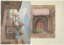 Exterior and interior views of the Siva temple on the Ganga ghat at Mathura